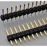 ピンヘッダ 1×16=16P 基板間11mm 金メッキ 2.54mmピッチ 2個入<con-039>