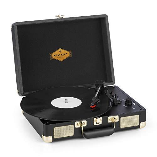 auna Peggy Sue Plattenspieler mit Lautsprecher, Vinyl-Plattenspieler, 33, 45, 78 U/min, USB, Kopfhöreranschluss, transportabel, Koffer-Design, schwarz-Gold