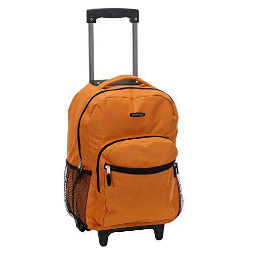 Rockland Double Handle Rolling Backpack, Orange, 17-Inch