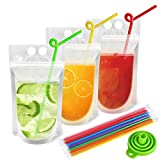 100pcs Reusable Drink Pouches with 100 Individually Wrapped Straws for Adults Clear Drink Bags with Disposable Plastic Straws Smoothie Bags Juice Bags Reclosable Double Zipper Handheld Drink Pouches