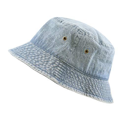 The Hat Depot Washed Cotton Denim Bucket Hat (S/M, Denim Blue)