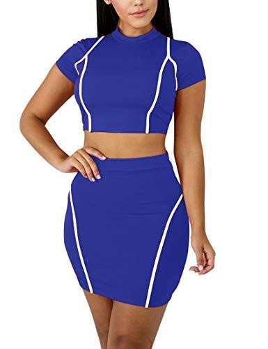 Mokoru Women's Sexy 2 Piece Crop Top Mini Skirt Set Short Sleeve Bodycon Club Dress, X-Large, RoyalBlue