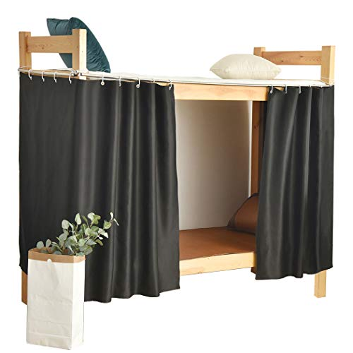 Teanea Bottom Bunk Bed Blackout Curtains Canopy Single Size Twin Size, 1 Panel, Black