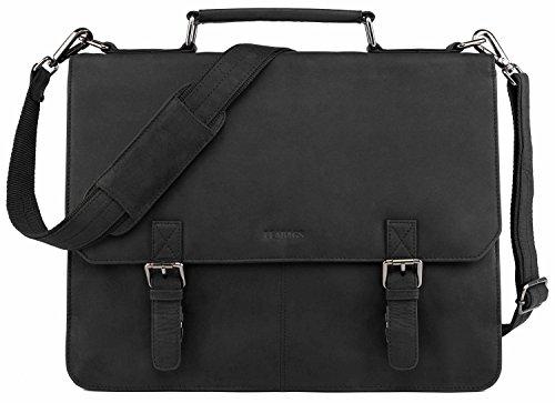 LEABAGS Gainsville Aktentasche Laptoptasche 15 Zoll Ledertasche im Vintage Look, (LxBxH): ca. 29 x 11 x 30 cm - Schwarz
