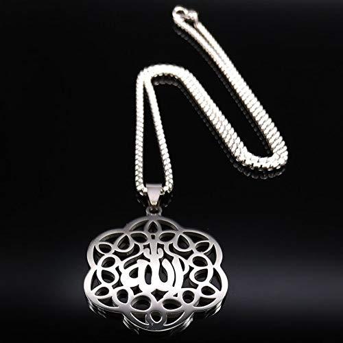 JKBDH Allah Edelstahl Damen Halskette, Damen Silber Anhänger, Schmuck Halskette, Arabische Halskette