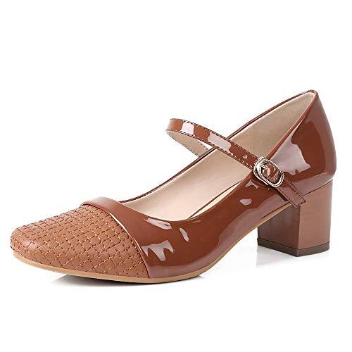 Sydowey - Scarpe décolleté da donna con tacco a blocco, stile Mary Jane, punta quadrata, Nero (Nero ), 36.5 EU