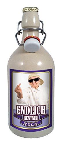 Endlich Rentner 0,75 Liter Tonflasche Bier mit Bügelverschluss