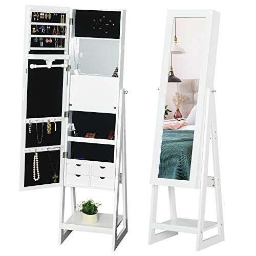 HOMCOM LED Light Jewelry Cabinet Storage Armoire w/ 2 Mirrors Drawers Hooks Shelves Make-Up Vanity Dresser Adjustable Bedroom Home White