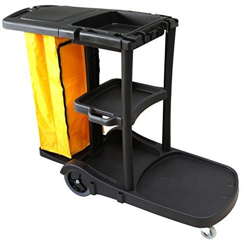Carro de limpieza multifunción STYLE Clim Profesional®. Carro multiusos para su uso en hoteles, hostales, colectividades, etc. Comodidad en las tareas de limpieza gracias a sus ruedas, bolsa de lona con cremallera, tapa y 3 bandejas para transportar productos de limpieza ✅