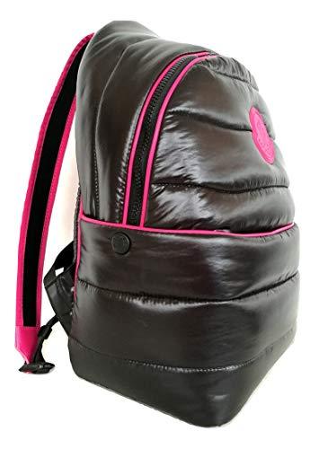 Moncler Backpack Medium Shiny Nylon Backpack Black and Pink 006130068950999