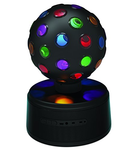 Sharper Image SBT651BK Universal Rechargeable Bluetooth Disco Ball Speaker with LED Color Changing Lights - Black