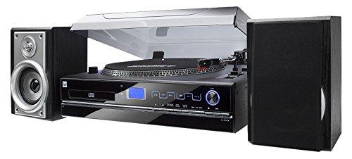 Stereoanlage – Plattenspieler - 33/45 U/min - Kompaktanlage - Radio - CD-Player - MP3 - Kassette - USB - SD - Digitalisierungsfunktion - AUX-In - Kopfhöreranschluss - Fernbedienung - Dual NR 100