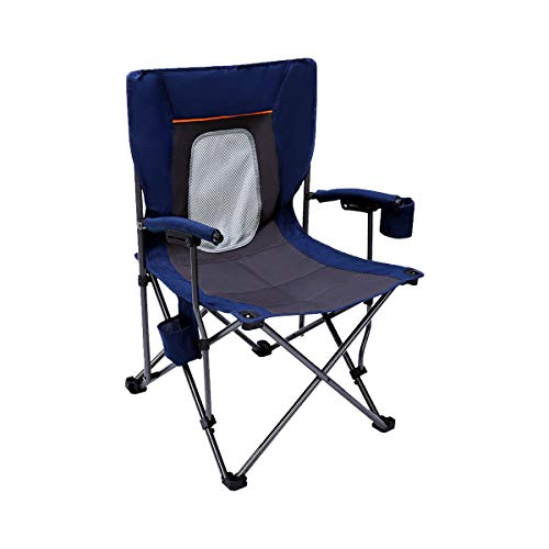 PORTAL Camping Chair Folding Portable Quad Mesh Back with Cup Holder Pocket and Hard Armrest, Supports 300 Lbs, Blue, Regular (PR-FCH330-BL)