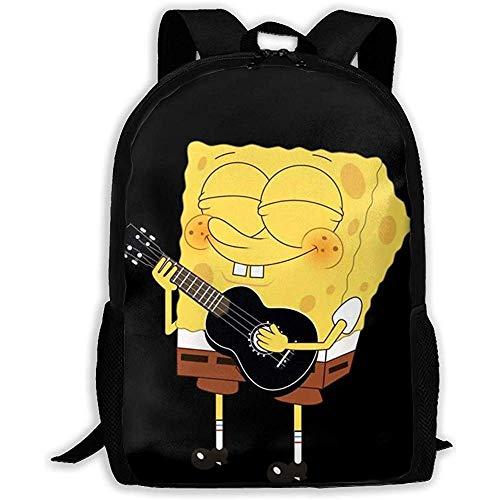 wobuzhidaoshamingzi Lässiger Rucksack Spongebob Spielen Gitarre Reißverschluss Schultasche Travel Daypack Rucksack