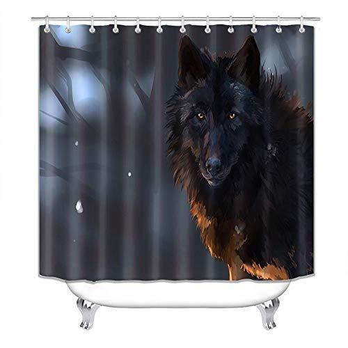 Chuanglanja douchegordijn, waterdicht, van polyester, met dierenwolf, 180 x 200 cm