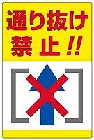 表示看板 「通り抜け禁止!!」 反射加工なし 縦型 特小サイズ 20cm×30cm VH-064SS
