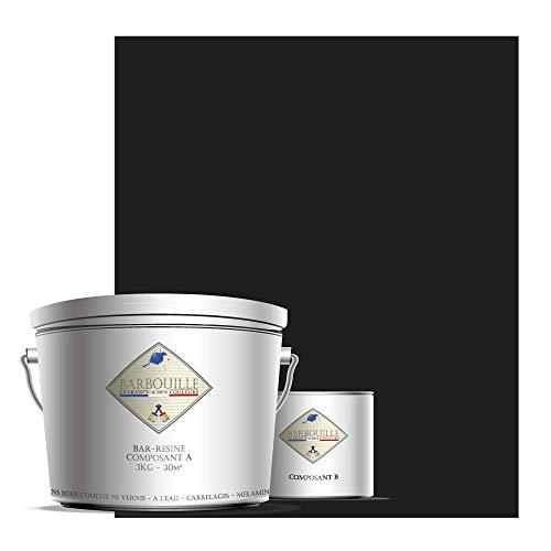 Bar-RESINE - Pintura / resina epoxi bicomponentes, en fase acuosa para azulejos, declaraciones, laminados, PVC, etc. – 3 kg mate – 30 m2 – gris y negro – Vodounô