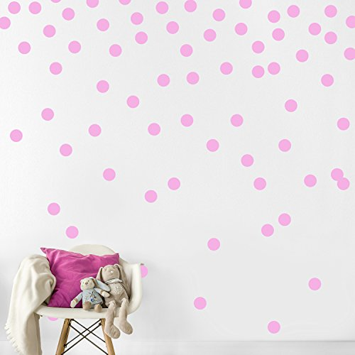 Pink Wall Decal Dots (200 Decals) | Easy Peel & Stick + Safe on Walls Paint | Removable Matte Vinyl Polka Dot Decor | Round Circle Art Glitter Sayings Sticker Large Paper Sheet Set for Nursery Room