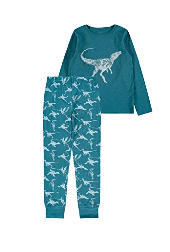 NAME IT Jungen Nkmnightset Real Teal Dino Noos Pyjamaset, 158-164 (2er Pack)