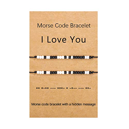 Couples Bracelets for Boyfriend Girlfriend Gifts I Love You Morse Code Bracelets Matching Relationship Couple Bracelets for Men Women,Him and Her