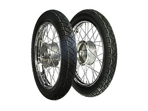 """MZA Set: 2 Kompletträder 1,5x16"""""""" Stahlfelge verchromt + Chromspeichen + Reifen Vee Rubber 094"""