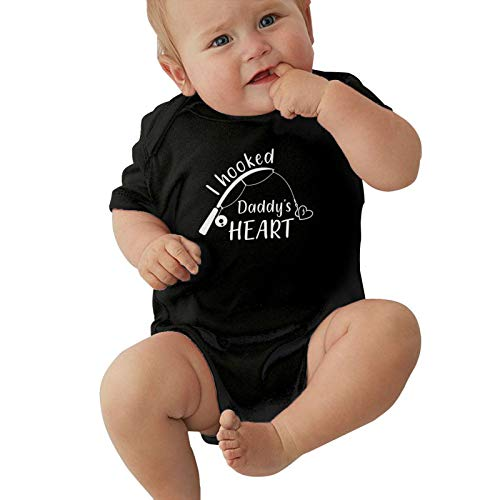 Child Short Sleeve I Hooked Daddy'S Heart Boys Girl Bodusuit Outdoor Baby Jersey Bodysuit