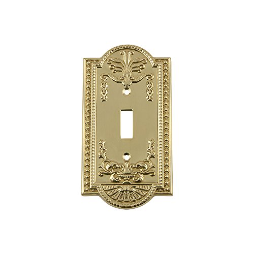 Nostalgic Warehouse 720070 Meadows Switch Plate with Single Toggle, Unlacquered Brass