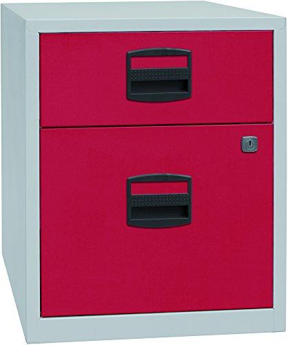 Bisley Home mobiler Beistellschrank PFA, 1 Universalschublade, 1 HR-Schublade, Metall, 506 Korpus Lichtgrau, Fronten Kardinalrot, 40 x 41.3 x 52.8 cm