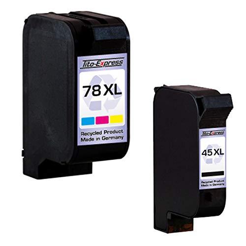 Tito-Express PlatinumSerie Set 2 Patronen kompatibel für HP 45 XL & HP 78 XL | Black & Color je 42ml XXL-Inhalt