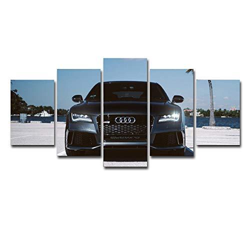 runtooer Bilder Dekorative malerei Spray malerei leinwand malerei 5 stück Audi Sportwagen Leinwand Wandbild, Möbel Art Deco, Rahmen