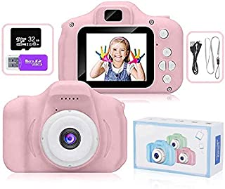 FK Kids Camera, Mini Rechargeable Child Digital Camera Shockproof Video Camcorder Gifts for 3-8 Year Old Boys Girls,8MP HD...