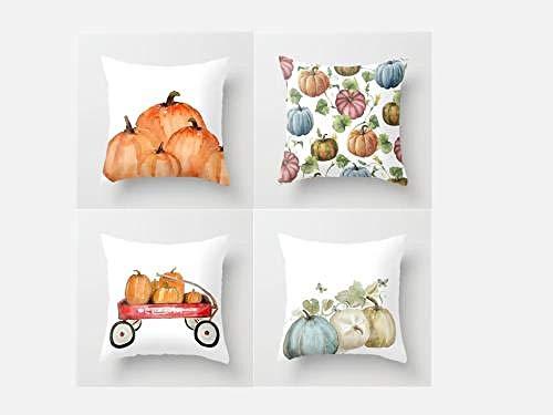 Mmdianpu Juego de 4 Fundas de Almohada de Halloween Fundas de Almohada Decorativas de Lino de algodón Funda de cojín de sofá de Halloween para el hogar Favor de Halloween, 40x40cm