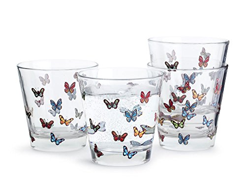Sagaform Butterfly Glass Multicolour Trinkgläser, Glas, Bunt, 20 cl