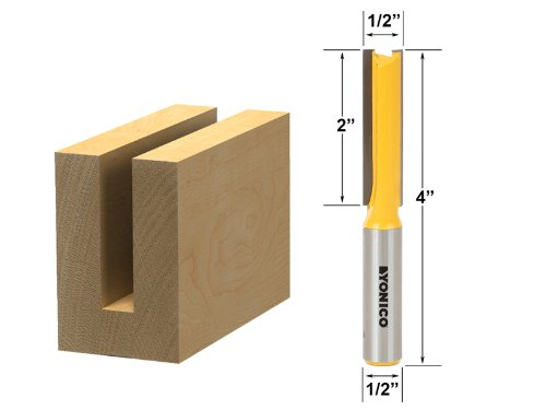 Yonico 14150 1/2-Inch Diameter X 2-Inch Height Straight Router Bit 1/2-Inch Shank