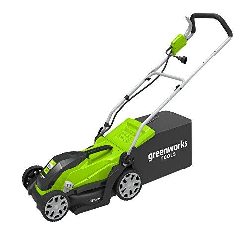 Greenworks Tools 2505107 GLM1035 Greenworks Elektrischer Rasenmäher 1000W-2505107, 1000 W, 230 V, Green, 35cm