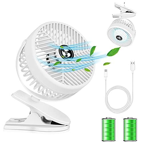 Mini USB Ventilator,Joymeey Leise Clip Tischventilator mit Wiederaufladbare Batterie,3 Geschwindigkeitsstufen,360 Drehbare Einstellbare Geschwindigkeiten Geeignet für Camping,Büro, Kinderwagen (White)