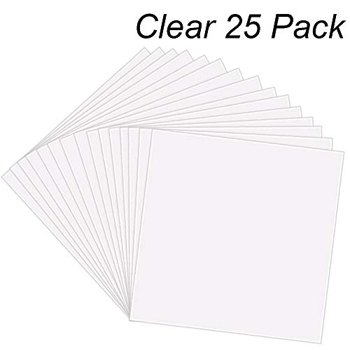 25 Pack 4 Mil CLEAR Mylar Stencil Sheets, 12' x 12' Blank Stencils, Reusable Template Material, Make Your Own Stencil Compatible Vinyl Cutting Machine