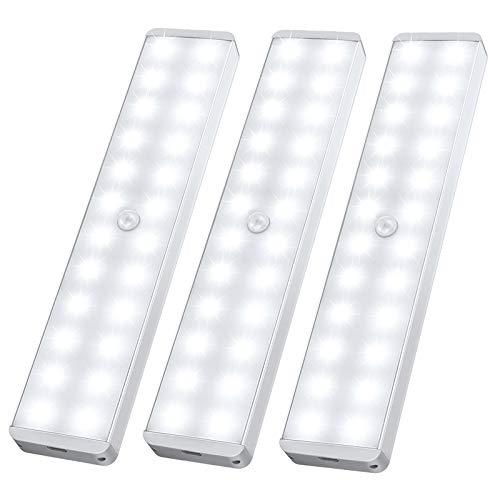 Racokky LED Sensor Licht 24 LEDs,Schrankbeleuchtung,Wiederaufladbar Schranklicht mit Bewegungsmelder,LED Küchenleuchte,Weiches Licht für Kleiderschrank,Kofferraum,Treppe,RV(3 Stück)