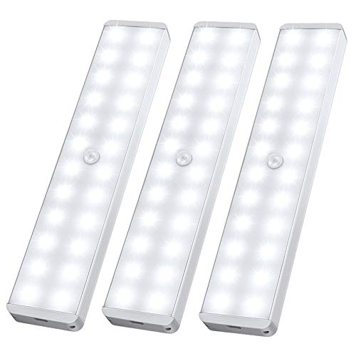 LED Closet Light, 24-LED Newest Version Rechargeable Motion Sensor Light Under Cabinet Wireless Stick-Anywhere Night Safe Light Bar with Large Battery for Stairs,Wardrobe,Kitchen,Hallway (3 Pcs)