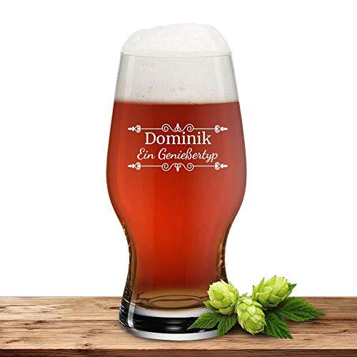 Deitert Bierglas mit Name oder Wunschtext, Leonardo Pilsglas 0,33l inkl. Gravur, individuelles Geschenk, personalisierter Bierbecher, Motiv Verzierung01