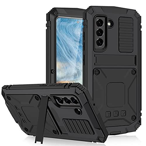 AdirMi Funda para Samsung Galaxy S21 FE, Carcasa de Metal Resistente a los Golpes con Soporte y Protector de Pantalla Incorporado, Proteccion de Cuerpo Completo Case Cover,Black