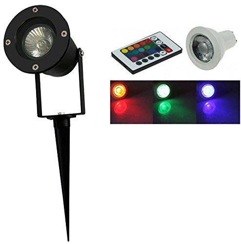 2 x Led RGB Gartenstrahler Spot Erdspieß schwarz GU10 230Volt mit auswechselbarer farbwechsel RGB Led GU10 max 35W Pflanzen Beleuchtung