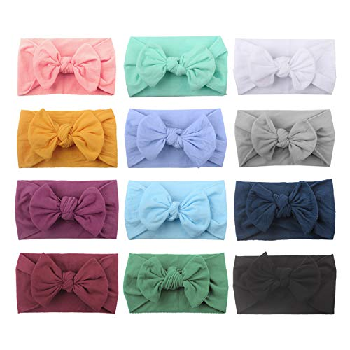 12 PACK Elastic Stretchy Super Soft Nylon Bowknot Topknot Wide Plain Headbands Hair Bands Bows Knotted Turbans Headwraps Hair Bows Accessories for Kids Toddler Infant Newborn Baby Girl Bulk