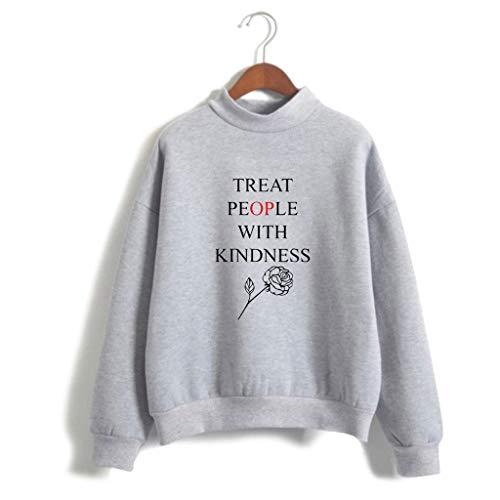 U CAN T-Shirt Unisex Langarm Stehkragen Sweatshirt Schwarz for Harry Styles