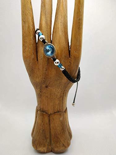 Pulsera de mujer tupis de swarovski azul con bolitas de zamak bañadas en plata, pulsera hecha a mano, pulsera macramé y plata, pulsera con cristal, regalo de navidad