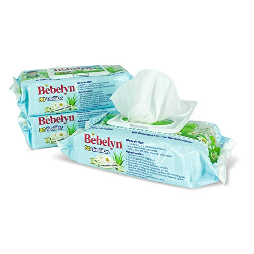 BEBELYN Baby Wet Wipes – 80 Non-Alcohol Bottom Wipes for Babies and Toddlers - Biodegradable Baby Wipes – Aloe Veran and Chamomile Baby Wipes for Natural Care – 12 Pcs Baby Wipes Box