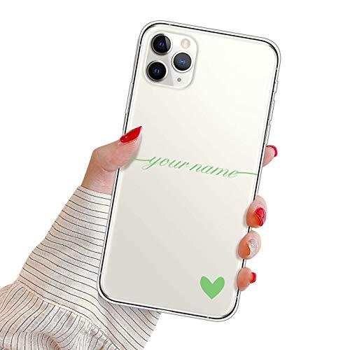 Suhctup Funda Personaliza Compatible con iPhone 11 Carcasa de Silicona con Amor y Texto Personablizable TPU Ultrafina Suave Transparente Antigolpes Proteccion Caso(Verde)