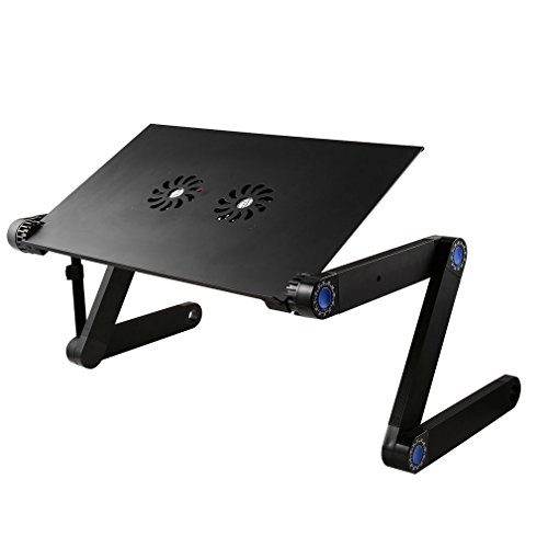 Turobayuusaku Adjustable Vented Table Laptop Computer Desk Portable Bed Tray Book Stand Multifuctional & Ergonomics Design Tabletop