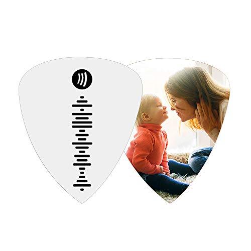 Púas de guitarra personalizadas - llavero con púa de guitarra con código Spotify personalizado, acero titanio   Púa de guitarra personalizada de madera para ukelele bajo eléctrico acústico