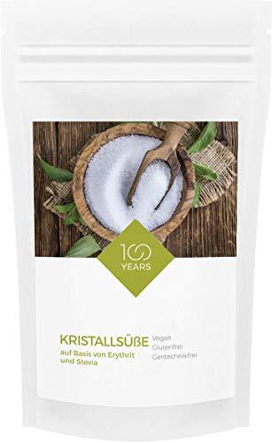 100years - Kristallsüße auf Basis von Erythritol und Stevia 1000g - Erythrit - kalorienfreie Zuckeralternative - zahnfreundlich - abgefüllt in Deutschland - wiederverschließbarer Kraftpapier-Beutel